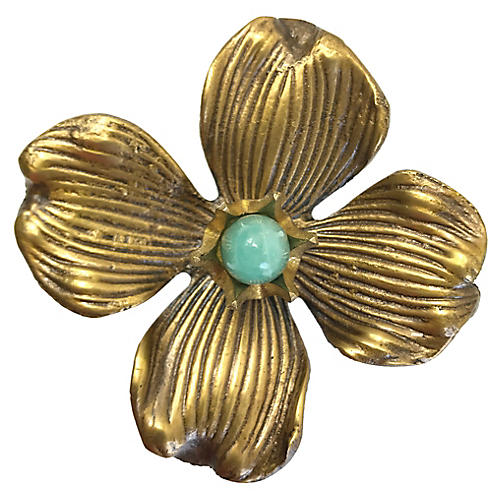 Dogwood Large Pull, Antiqued Brass/Amazonite