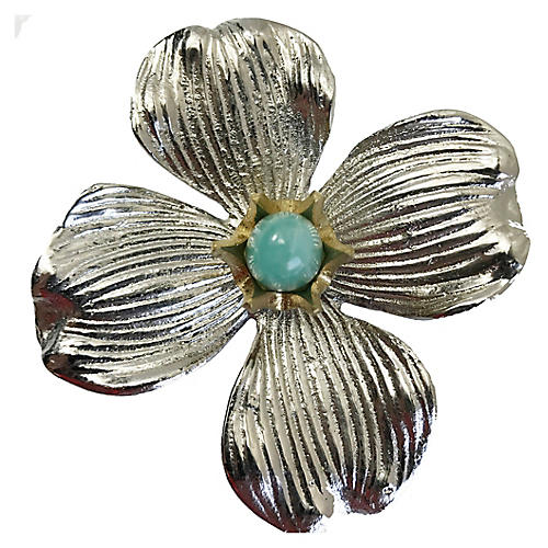 Dogwood Large Pull, Nickel/Amazonite