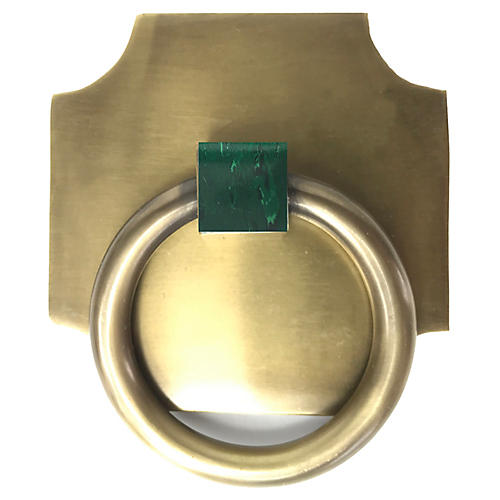 Porter Backplate Ring, Antiqued Brass/Malachite