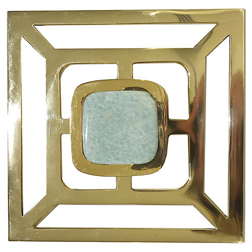 Benson Backplate Pull, Brass/Amazonite