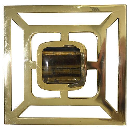 Benson Backplate Pull, Brass/Tiger'S Eye