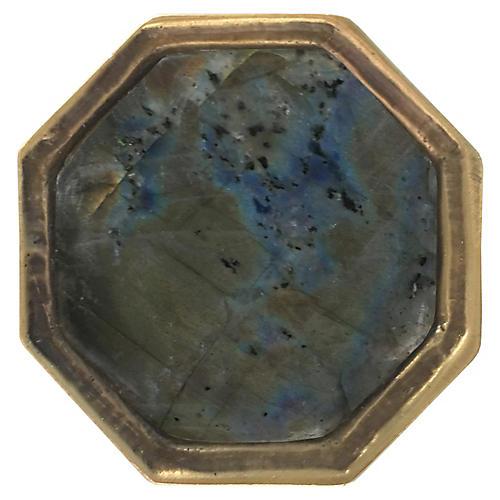 Harrison Small Pull, Antiqued Brass/Labradorite