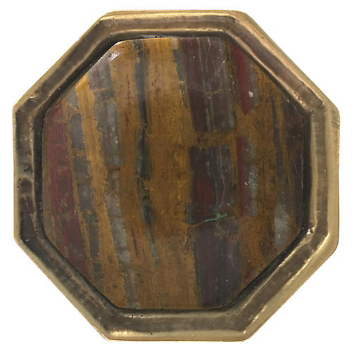 Harrison Small Pull, Antiqued Brass/Tiger's Eye