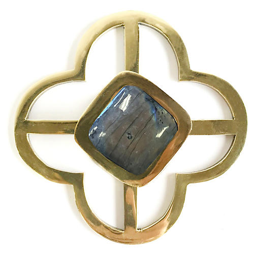 Benson Jones Backplate Pull, Brass/Labradorite