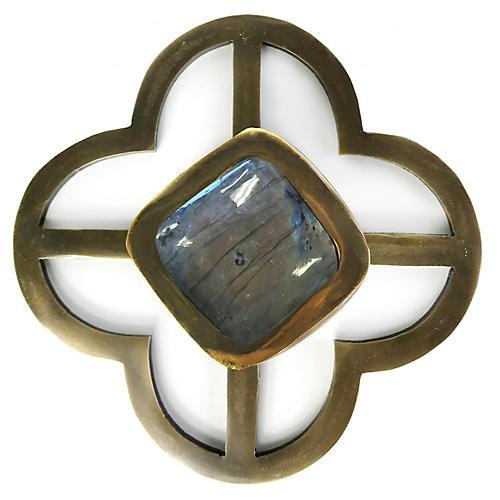 Benson Jones Backplate Pull, Labradorite/Brass