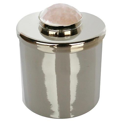 """2"""" Lane Round Box, Silver/Pale Pink"""