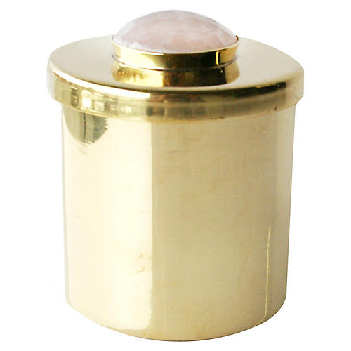 "2"" Lane Round Box, Brass/Pale Pink"