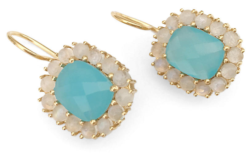 Reames Drop Earrings, Aqua/Moonstone