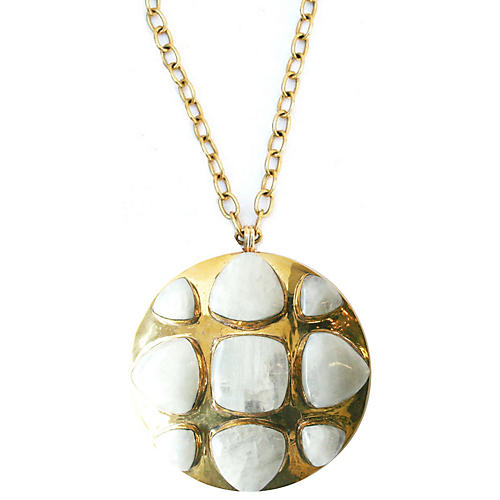 24-Kt Bendall Necklace, Moonstone/Gold