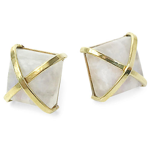24-Kt Martin Stud Earrings, Moonstone