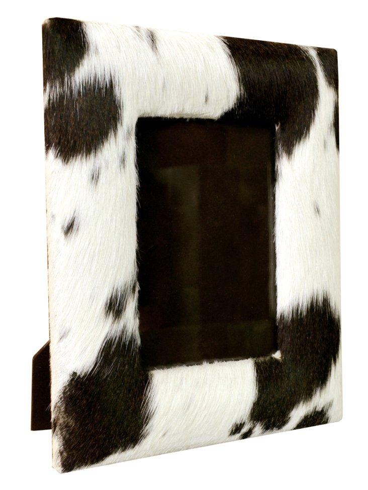 5x7 Hairon Leather Frame, Black/White