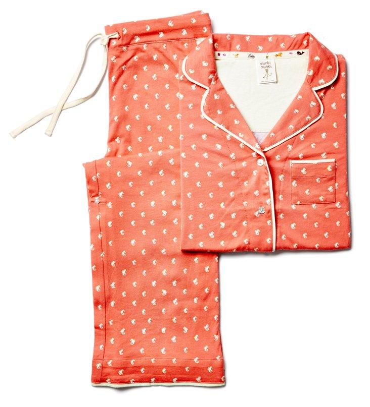XXL Seahorse Short Knit Pajama Set, Red