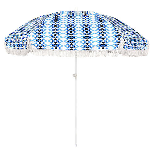 Chevron Beach Umbrella, Blue/White