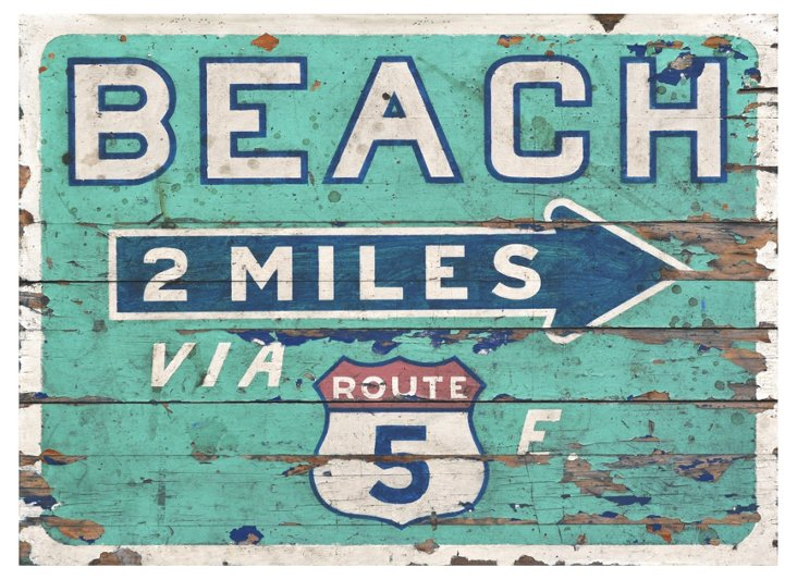 """Beach 2 Miles"" Sign, Turquoise"
