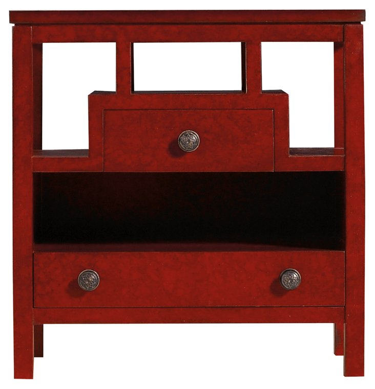Chairside 2-Drawer Nightstand, Red