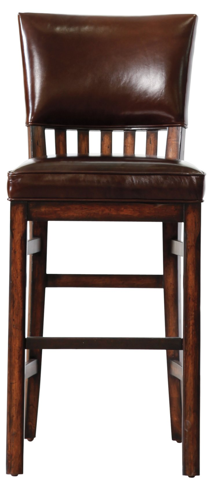Morris School Leather Barstool, Tobacco