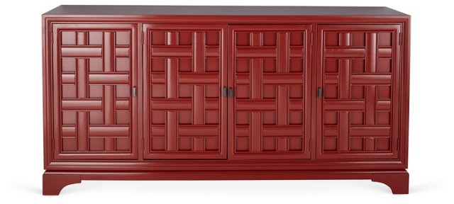 """Jesse 76"""" Woven-Front Buffet, Red"""