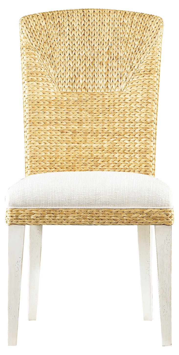Water's Edge Woven Side Chair, White