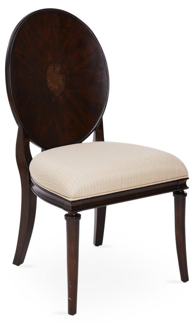 Oval Starburst Side Chair, Cream/Pewter