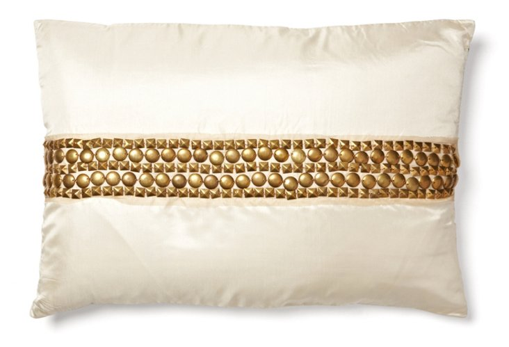 Studded 14x20 Pillow, Ivory