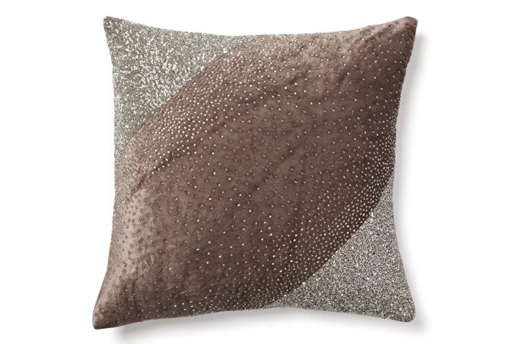 Diagonal 18x18 Velvet Pillow, Gray
