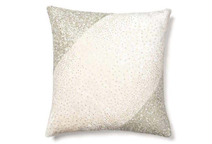 Diagonal 18x18 Velvet Pillow, Ivory