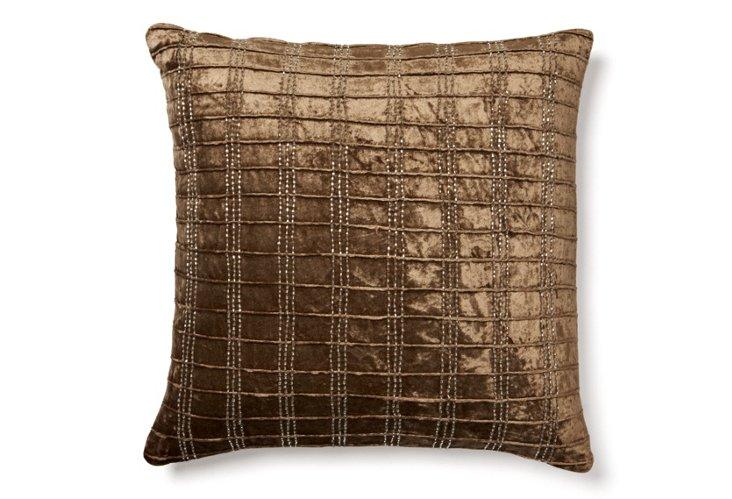 Corded 18x18 Velvet Pillow, Light Brown