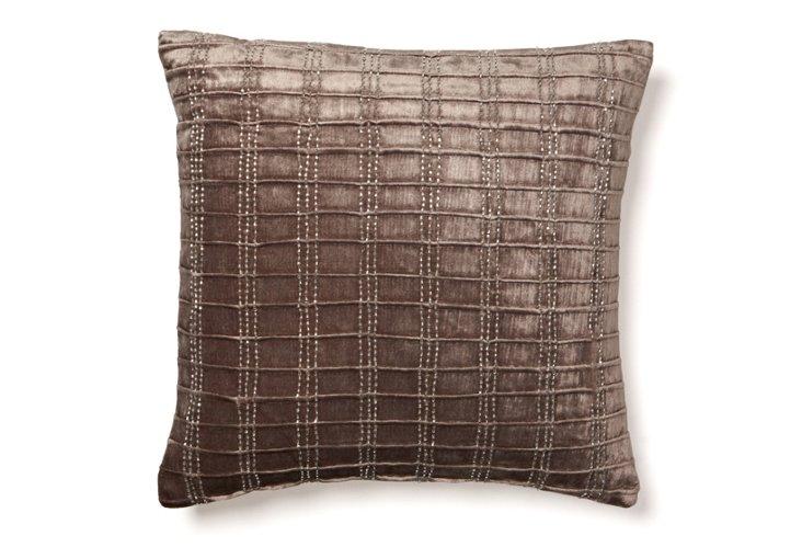 Corded 18x18 Velvet Pillow, Gray