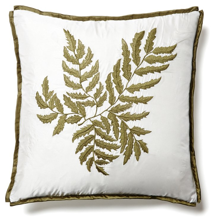 Fern 2 18x18 Embroidered Pillow, Ivory