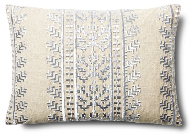 Mica 14x20 Embroidered Pillow, Silver
