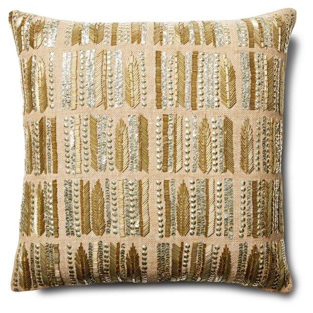 Arima 20x20 Jute Pillow, Gold