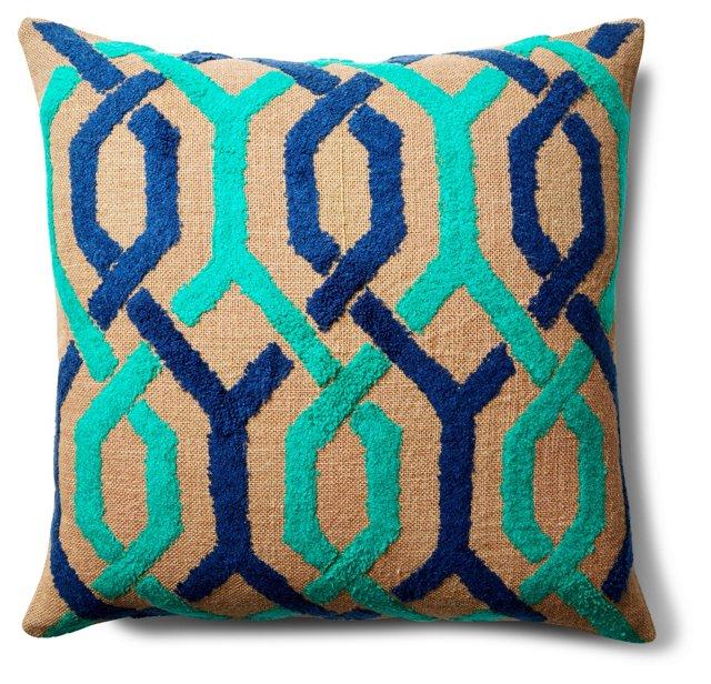 Sophia 20x20 Jute Pillow, Blue
