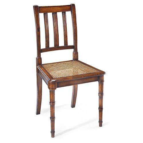 Regency Style Caned Side Chair, Walnut
