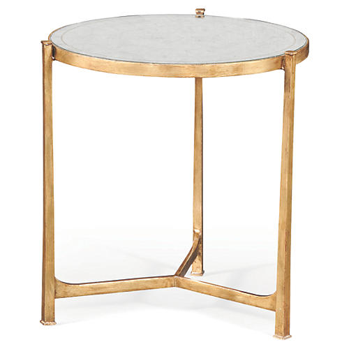 """Rae 25"""" Round Mirrored Side Table, Gold"""