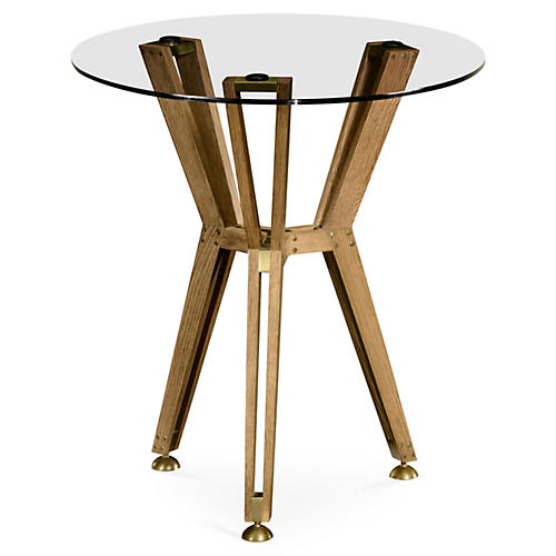 Architectural Round Side Table, Gold