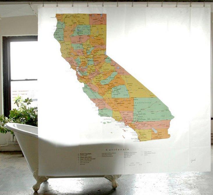 California Map Shower Curtain