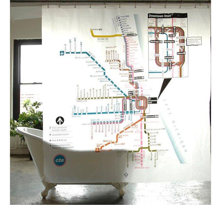 Izola Chicago Subway Map Shower Curtain