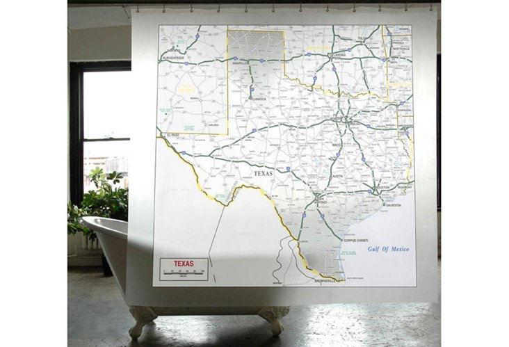 Texas Map Shower Curtain