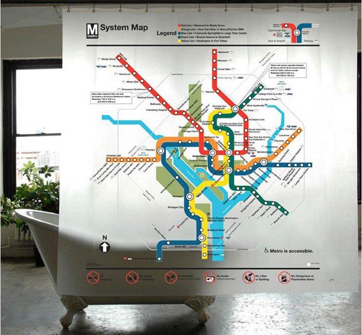 Washington DC Subway Map Shower Curtain