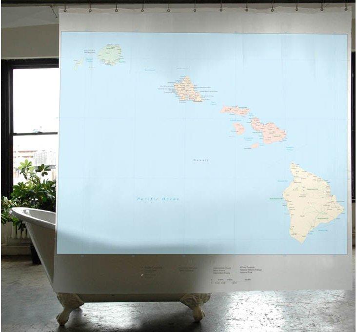 Hawaii State Map Shower Curtain