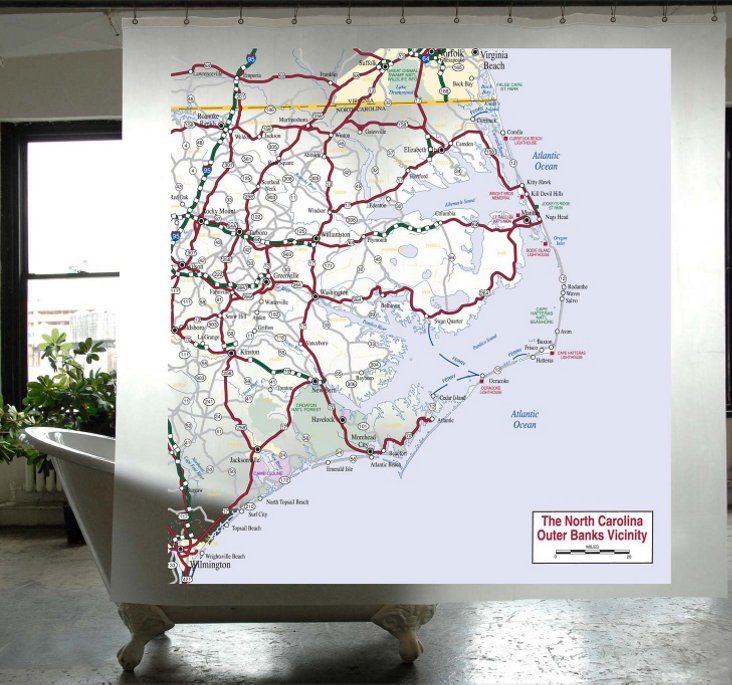 Outer Banks Map Shower Curtain