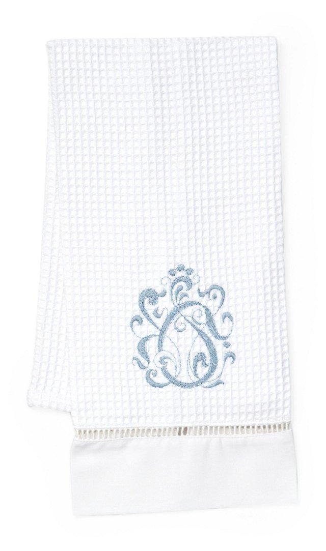 English Scroll Guest Towel, Blue
