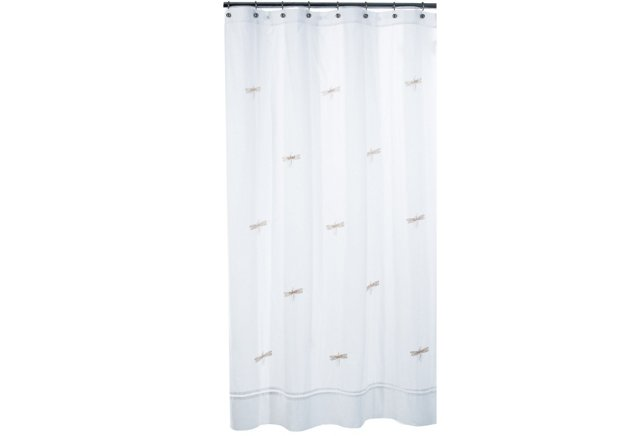 Dragonfly Shower Curtain, White/Beige