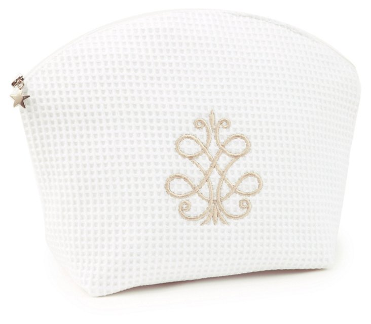 French Scroll Waffle Cosmetic Bag, White
