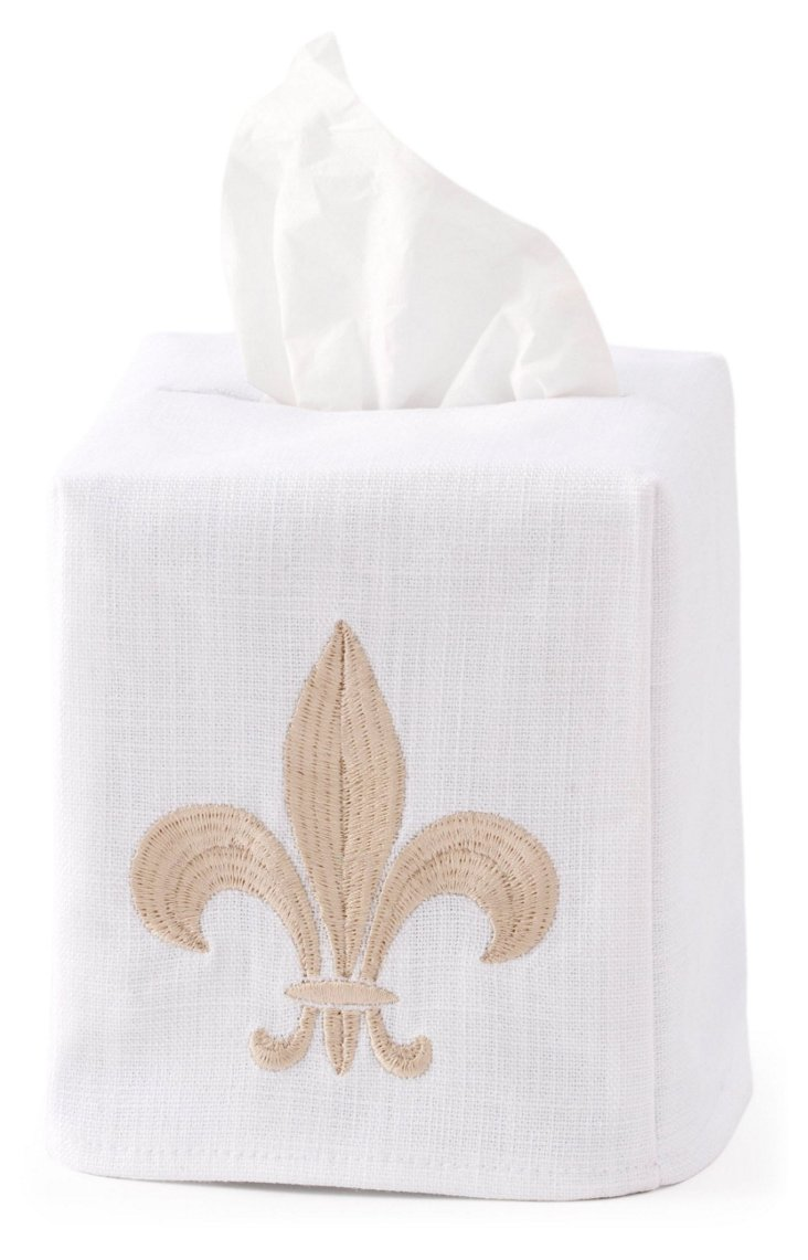 Fleur-de-Lis Tissue Box Cover, Beige
