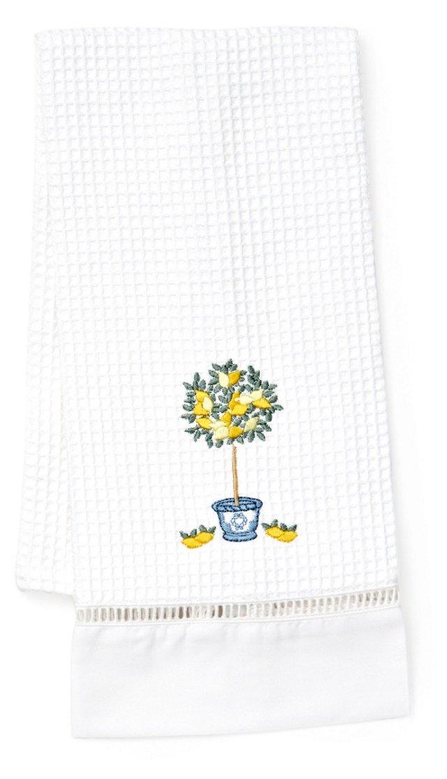 Lemon Topiary Waffle Guest Towel, Yellow