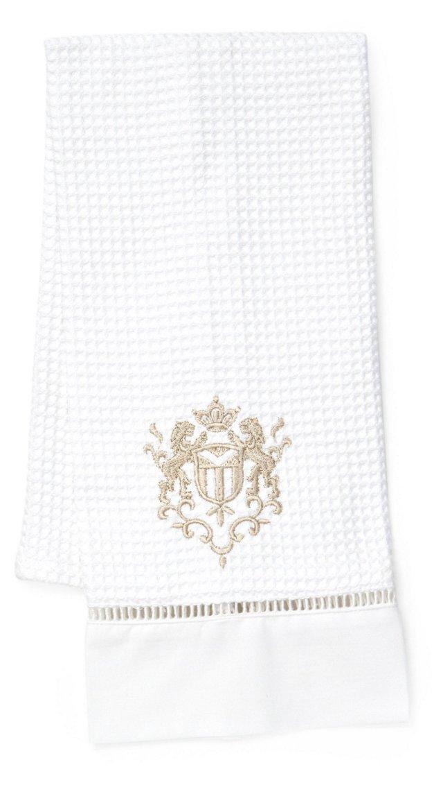 Majestic Scroll Waffle Towel, Beige