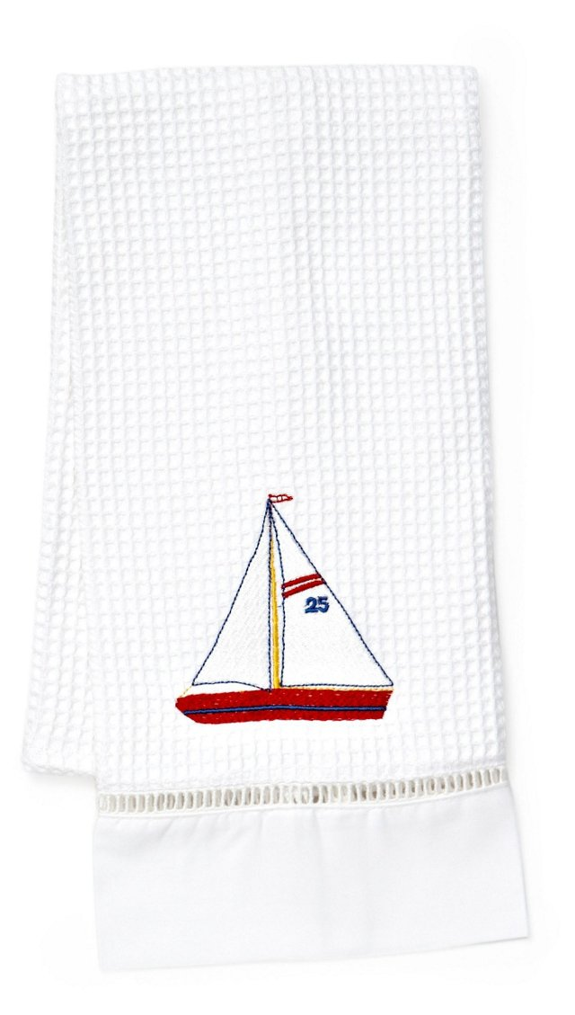Sailboat Waffle Weave Guest Towel, Red