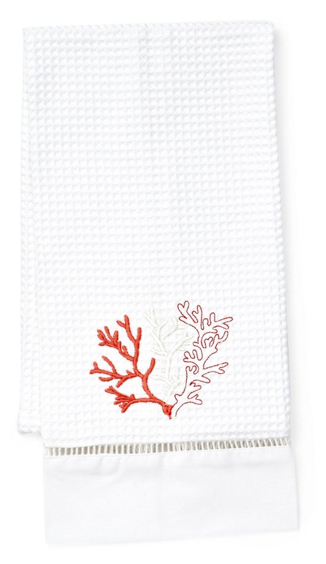 Coral Waffle Weave Guest Towel, Red