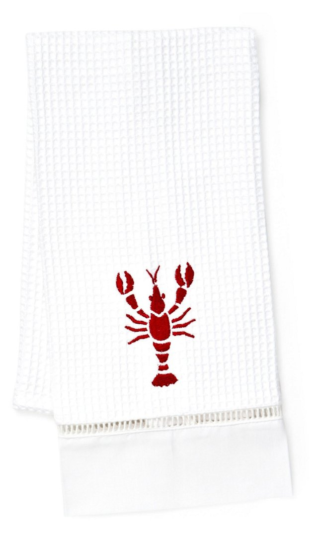 Lobster Waffle Weave Guest Towel, Red